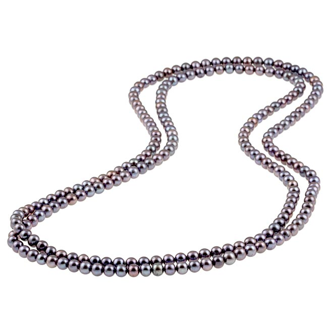 DaVonna Cultured FW Black Pearl 52-inch Endless Necklace (6.5-7mm)