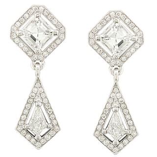 Annello 18k White Gold Asscher Cut Diamond Drop Earrings