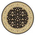 Lyndhurst Collection Traditional Black/ Ivory Floral Rug (8' Round)