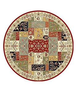 Lyndhurst Collection Traditional Multicolor/ Ivory Rug (8' Round)
