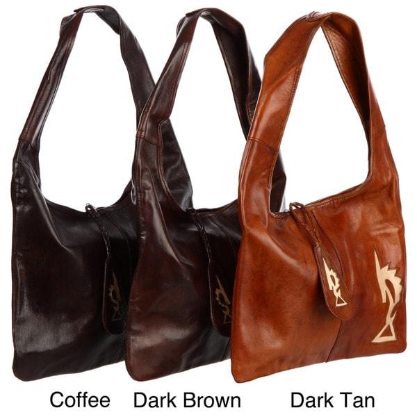 Leather Chiwara Design Tote Bag (Mali)