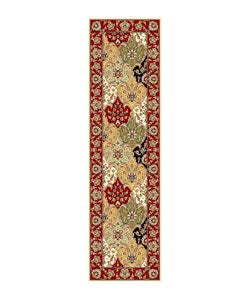 "Lyndhurst Collection Traditional Multicolor/Red Runner (2'3"" x 8')"