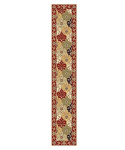 Lyndhurst Collection Oriental Multicolor/ Red Runner Rug (2'3 x 12')