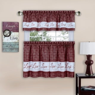Live, Love, Laugh Window Curtain Tier Pair and Valance Set