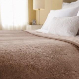 Sunbeam Channeled Velvet Plush Electric Blanket King Size Acorn