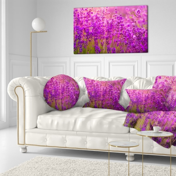 Designart 'Bright Purple Lavender Field Tihany' Floral Throw Pillow 34806967