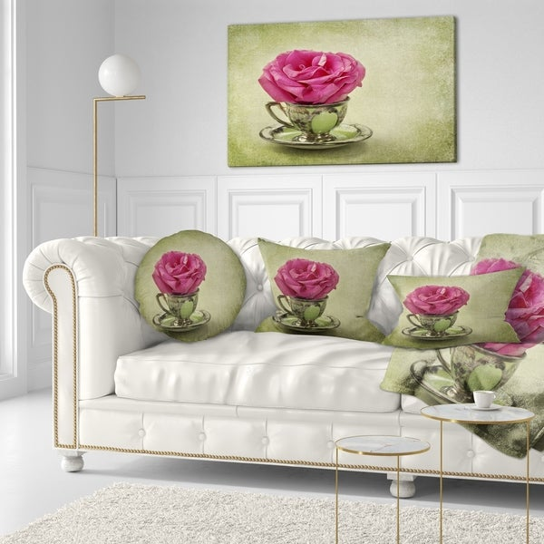 Designart 'Red Rose in Cup and Saucer' Floral Throw Pillow 34816147