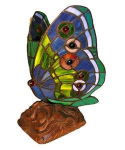 Tiffany-style Green Butterfly Table Lamp