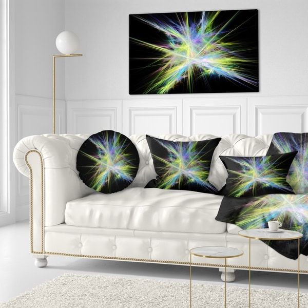 Designart 'Yellow Blue Chaos Multicolored Rays' Abstract Throw Pillow 34830154