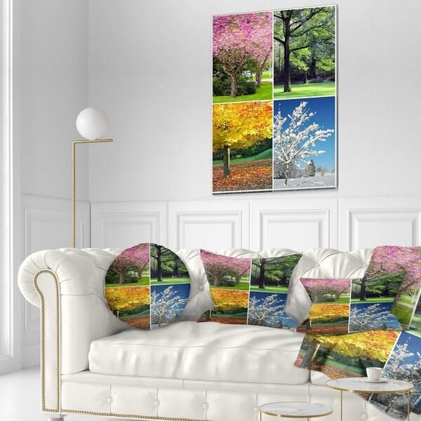 Designart 'Four Seasons Trees Collage' Landscape Printed Throw Pillow 34832238