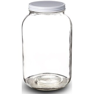 1-Gallon Glass Jar Wide Mouth with Airtight Metal Lid USDA Approved BPA-Free Dishwasher Safe Mason Jar for Fermenting Uses Clear