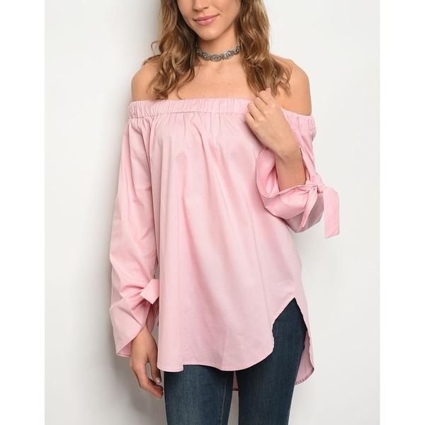 JED Women's Cotton Poplin Long Sleeve Off Shoulder Tunic Top 34862391