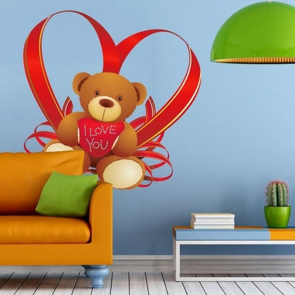 """Teddy Bear Heart Love You Full Color Wall Decal Sticker K-657 FRST Size 52""""x65"""" 34874511"""