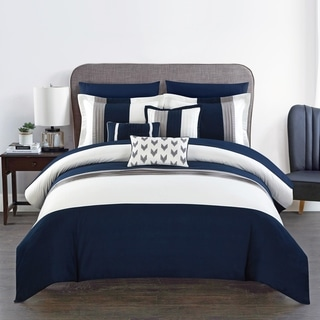 Chic Home Hester 10 Piece Bed in a Bag Comforter Set Color Block, Navy