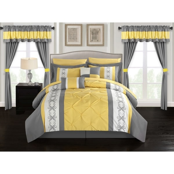 Chic Home Kaia 20 Piece Bed in a Bag Comforter Set Color Block Pinch Pleat Pintuck Design, Yellow 34883824