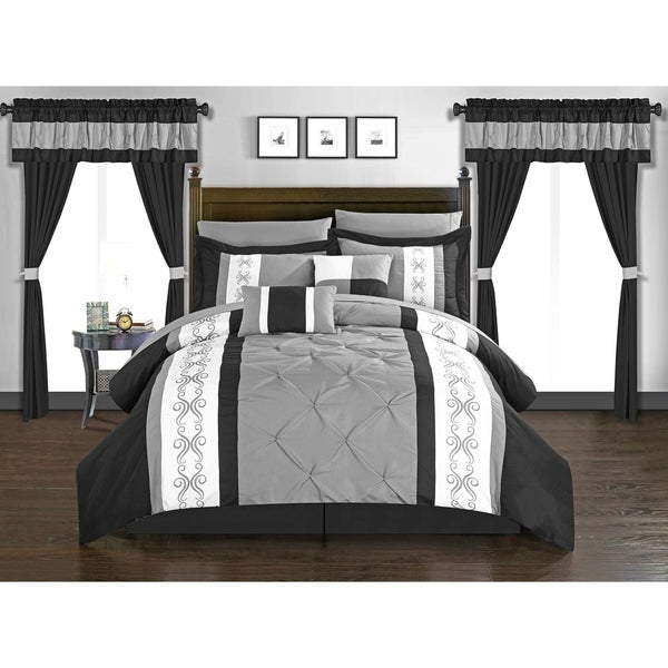 Chic Home Kaia 20 Piece Bed in a Bag Comforter Set Color Block Pinch Pleat Pintuck Design, Black 34883826