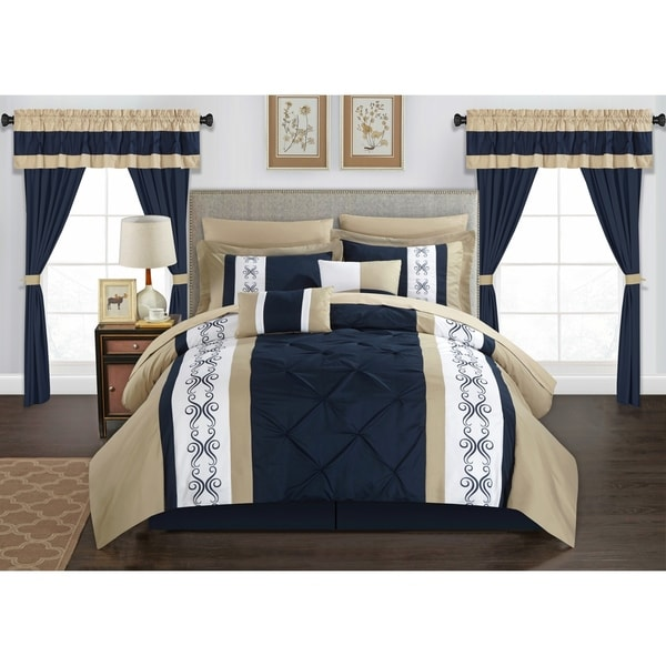 Chic Home Kaia 20 Piece Bed in a Bag Comforter Set Color Block Pinch Pleat Pintuck Design, Navy 34883834