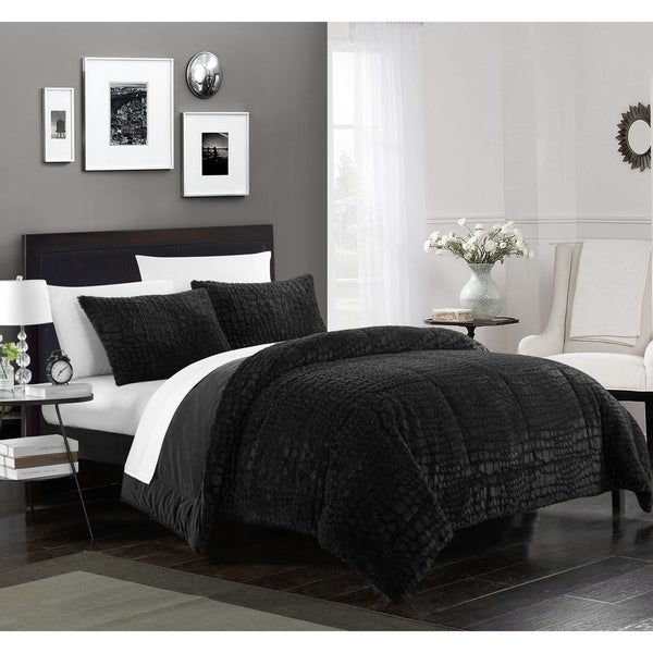 Chic Home Caimani 7 Piece Bed in a Bag Comforter Set Faux Fur, Black 34883835