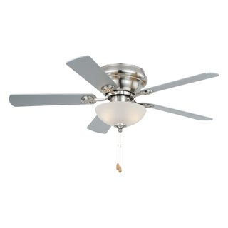Expo 42 inch Flush Mount Satin Nickel Ceiling Fan with LED Light Kit - 42-in W x 12.5-in H x 42-in D