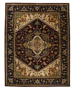 Handmade Heritage Heriz Red/ Navy Wool Rug (7'6 x 9'6)