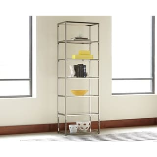 Contemporary Black Nickel 6-tier Bookcase