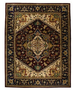 Handmade Heritage Heriz Red/ Navy Wool Rug (8'3 x 11')