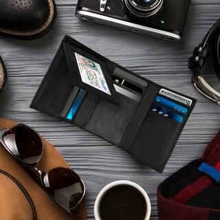 AFONIE - Men's Genuine Leather Tri-fold Wallet