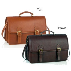 Aston Leather Multi-compartment Oversized Briefcase
