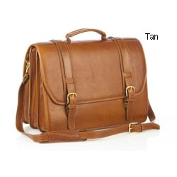 Aston Leather Triple-compartment Laptop Briefcase