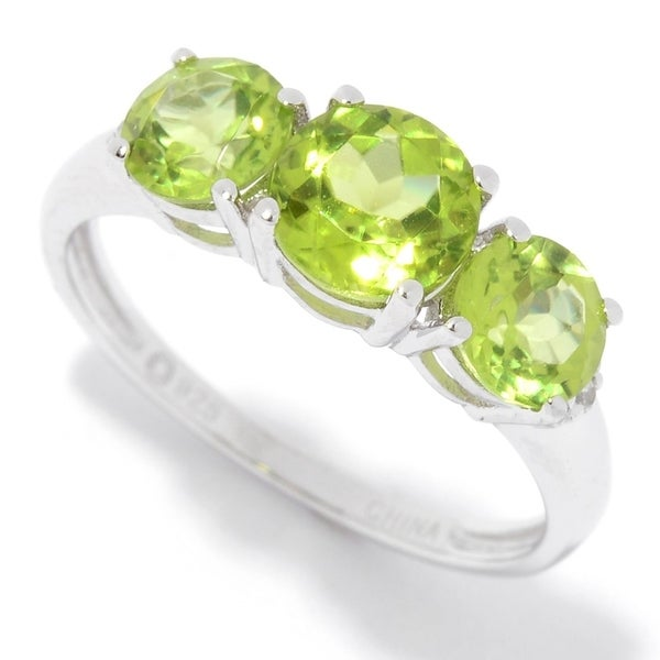 Ster Silver Peridot Round Cut 3-Stone Ring Size-7 - Green 34981068