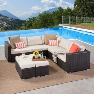 Santa Rosa Outdoor 5 Seater Wicker Sectional Sofa Set with Aluminum Frame and Cushions by Christopher Knight Home