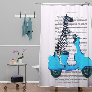 Coco de Paris Zebra On Blue Vespa Shower Curtain