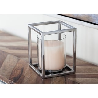 Strick & Bolton Martha Stainless Steel Glass Hurricane 5 inches wide, 7 inches high