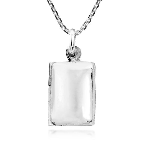 Handmade Cute Engravable Rectangular Locket Sterling Silver Necklace  (Thailand) 34980155