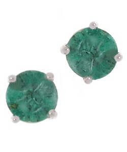 14k White Gold Round Emerald Stud Earrings