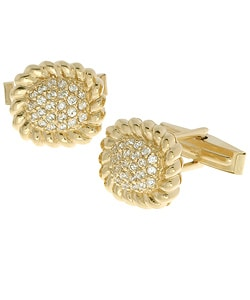 Icz Stonez 18k Gold over Sterling Silver Rope CZ Cuff Links