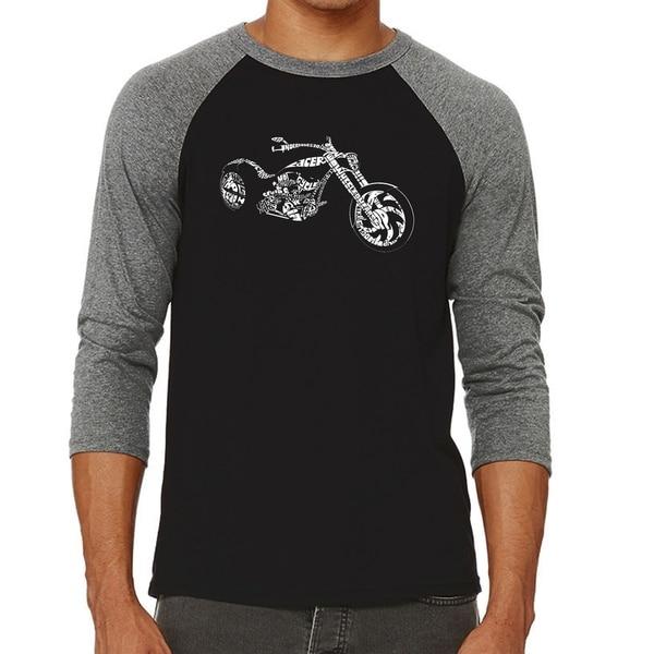Los Angeles Pop Art Men's Raglan Baseball Word Art T-shirt - MOTORCYCLE 34998245