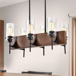Solvyr Forged Black Metal and Wood 6-Light Chandelier with Clear Glass Tube Shades