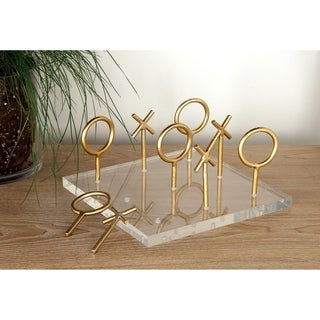 Glam Style Metallic Gold Tic Tac Toe Game Set on Clear Acrylic Board