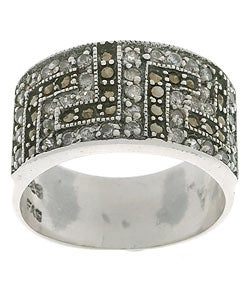 Icz Stonez Sterling Silver Greek Key Marcasite CZ Ring