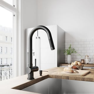 VIGO Gramercy Matte Black Pull-Down Kitchen Faucet with Soap Dispenser