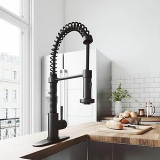 VIGO Edison Matte Black Pull-Down Spray Kitchen Faucet with Deck Plate