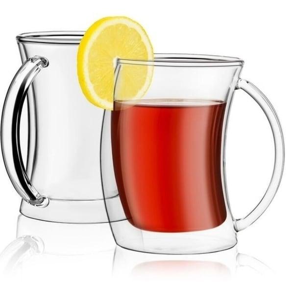 JoyJolt Caleo Insulated Coffee/ Tea Mugs, Double Wall Glasses, Set of 2 10 oz 35013705
