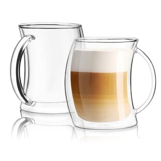 JoyJolt Caleo Glass Coffee/ Latte Cups, Double Wall Insulated Glasses, Set of 2 13.5 oz