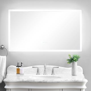 """smartLED Illuminated Fog-Free Bathroom Mirror with Built-In Bluetooth Speakers and Dimmer - 48"""" x 27"""""""