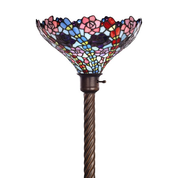 Tiffany-style Flower Torchier Lamp