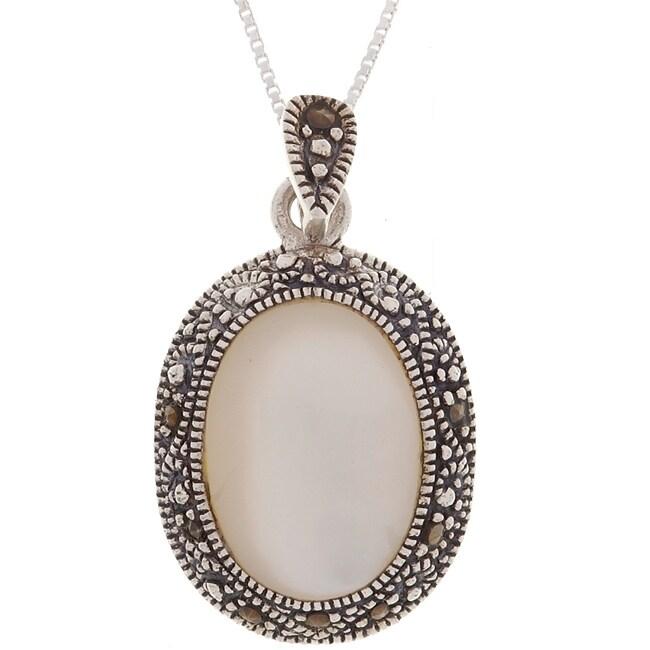 Glitzy Rocks Silver Marcasite Oval Mother of Pearl Pendant