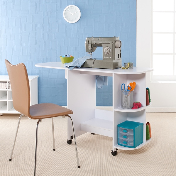 Upton Home White Folding Sewing Machine Table