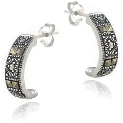 Glitzy Rocks Sterling Silver Marcasite Half-Hoop Earrings