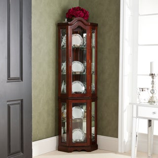 McCoy Mahogany Lighted Display Corner Curio Cabinet